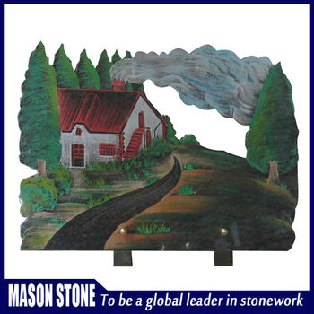 Colorful landscape carved granite plaque