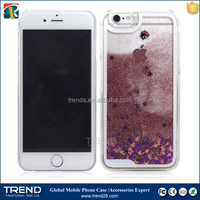Newest Transparent Plastic Bling 3D Moving Liquid Glitter Star Case For Iphone 6