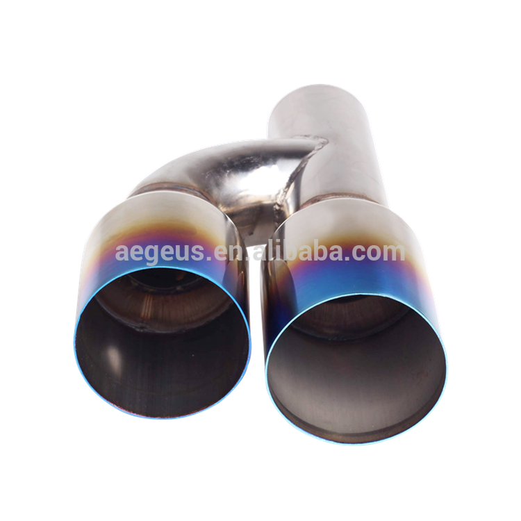 "High quality auto parts Staggered Blue Burnt Dual Exhaust Pipe Tip Polished Stainless 2.5""In 3.5""Out"