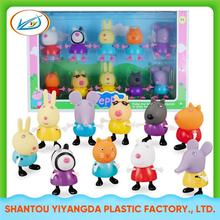 Hot selling colorfull kids action cartoon figure plastic pig toy