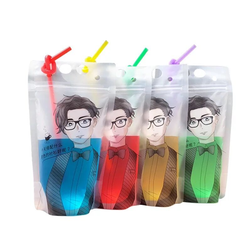 Custom Print 500ml Matt Clear Stand Up Pouch With Straws No Leakage Drink Pouches <strong>Bags</strong>