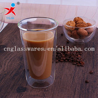 Clear double wall glass coffee/tea/thermos cup, handblown glass cup