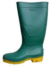 Yellow, black, green, white Non-Slip Black pvc man rain boots, Steel toe, Steel midsole