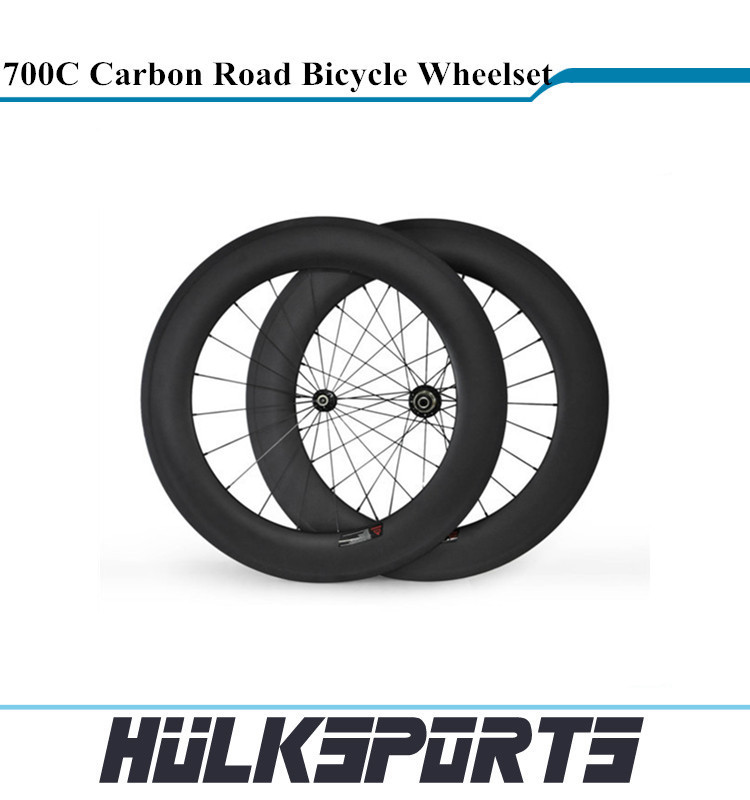 700c bike full carbon wheelset chinese carbon clincher wheels for Road bicycle 88mm clincher