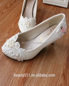 White lace bridal wedding party shoes lace flowers low heel wedding shoes WS029