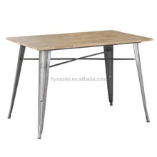 rectangular wood top Xavier metal dining table