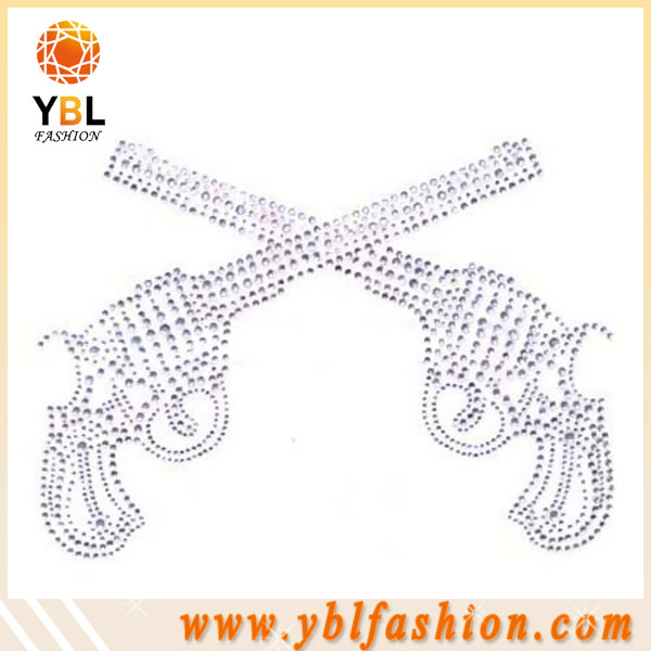 Gun design rhinestone template material for cloth
