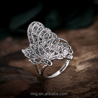New vintage gun metal butterfly shape animal crystal statement stretch ring