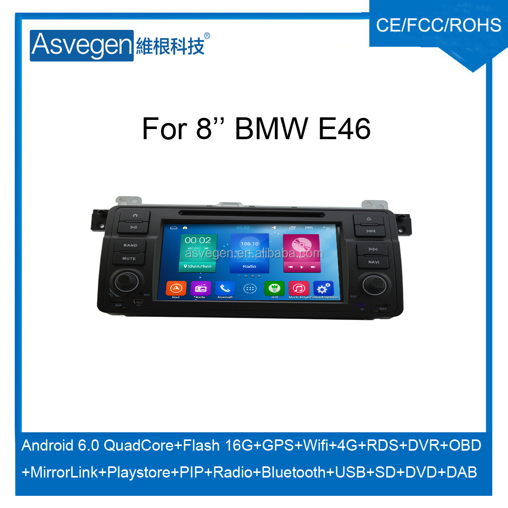 For 8'' BMW E46 car dvd GPS navigation Android 5.1.1 multimedia player support wifi 4G playstore