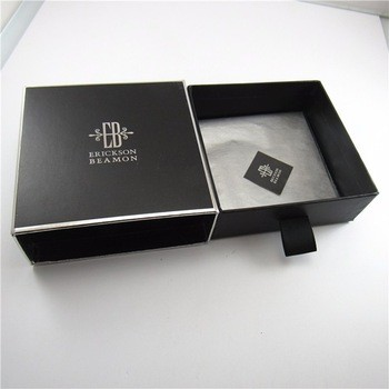 Cool black siliver stamping gift cardboard match boxes with ribbon