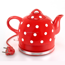 1.8L Vintage Retro Style Ceramic Polka Dot Cordless Tea Electric Kettle With LED Light