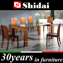 modern dining table set / glass top dining table with 6 chair / glass top wood leg dining table A-9