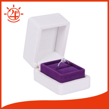 High end small branded hinged faux leather foam insert ring box