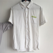 Men's 100 cotton short sleeve light weight white rainbow nep casual woven shirt