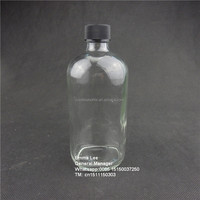 500ml 16oz liquid soap bottle Clear Boston Round Glass Bottle with lotion pump