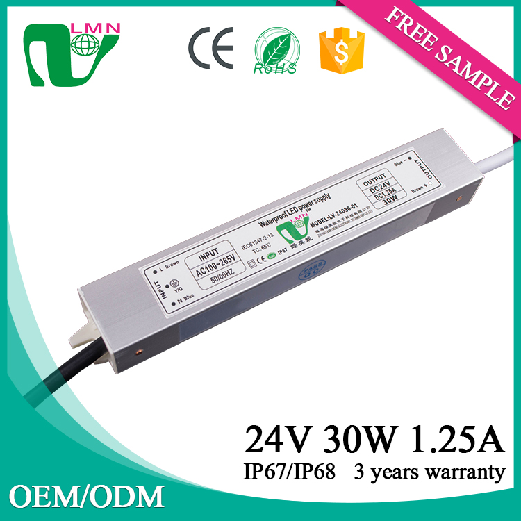 24V 30W small electronic waterproof dimmable led driver