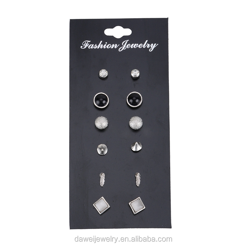 6 Pairs on a Card Multi Shapes Stud Jewelry Earrings for Girls