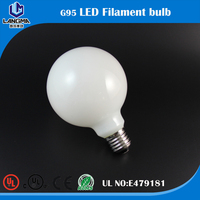 led lighting bulb milky glass G95 indoor bulb filament lamp dimmable for living room