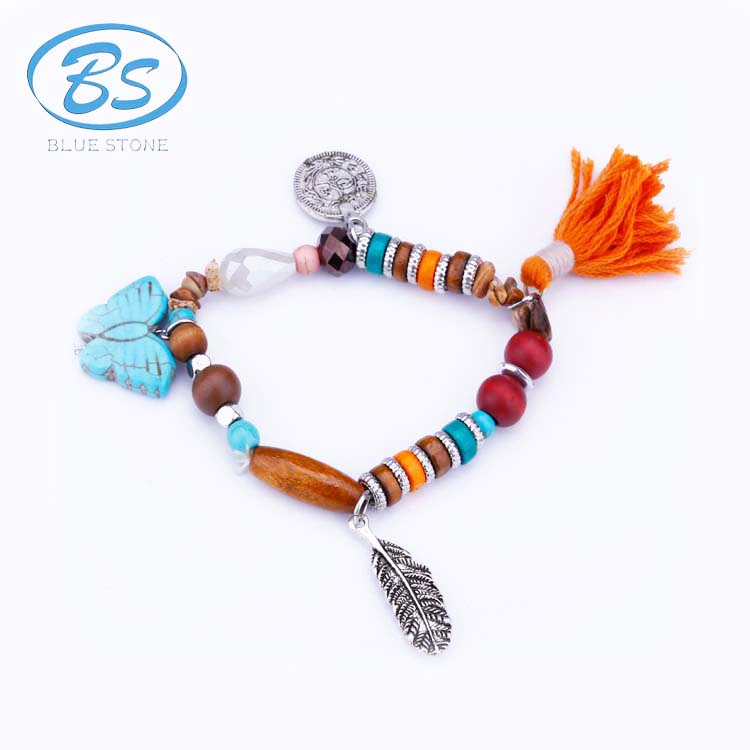 MBB001 silk coin leaf boho natural stone handmade tassel wood bead charm bracelet fashion jewelry