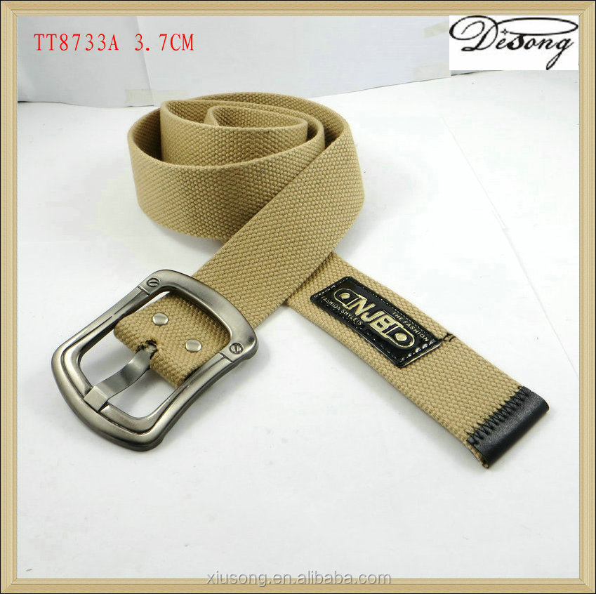 Cheap custom logo canvas fabric belt manufacturer with pin buckle
