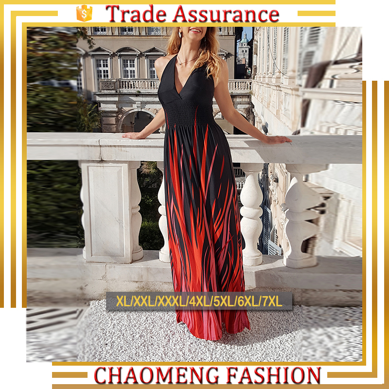 5021# Halter Black & Red Flame Floral Printed Long Maxi Dresses Plus Size Maternity