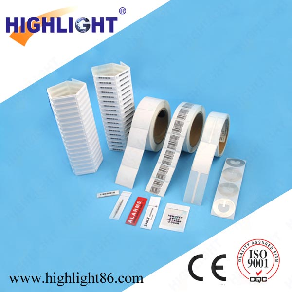 Highlight EAS RF soft label supermarket electronic labels security tag 4*4cm 8.2 Mhz anti-theft EAS label