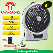 8inch rechargeable emergency solar powered outdoor fans with light table