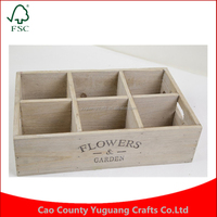 2016 High quality wool six grid meat vintage desktop cosmetics storage wooden pallets