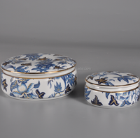 blue and white porcelain round case, jewelry ceramic storage, home decoration