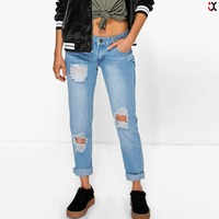 knee ripped slim fit jeans wholesale denim jeans JXA100