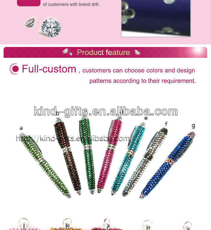 Hot Sale Bling Rhinestone Ink Pens With Crystal China Factory