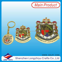 Gold plated custom design self adhesive metal nameplates key chain maker,zinc alloy casting metal emblem label plate