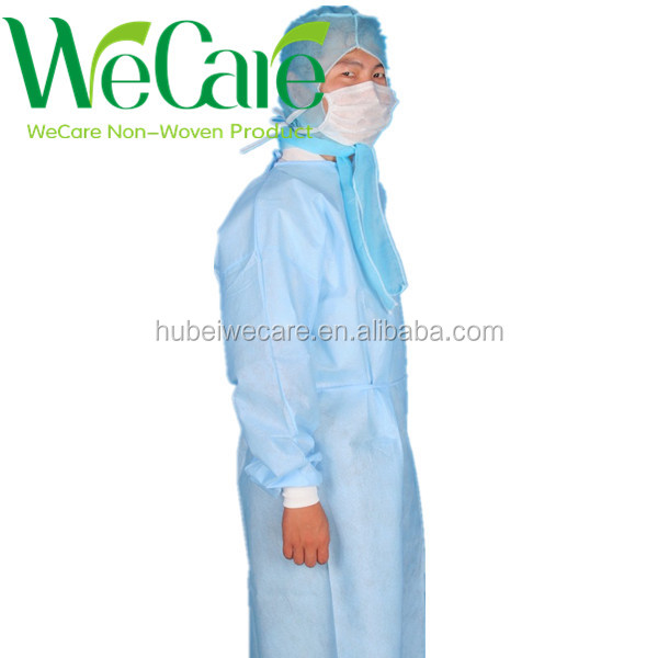 Medical disposable standard surgical gown with knitted cuff & four waist tapes