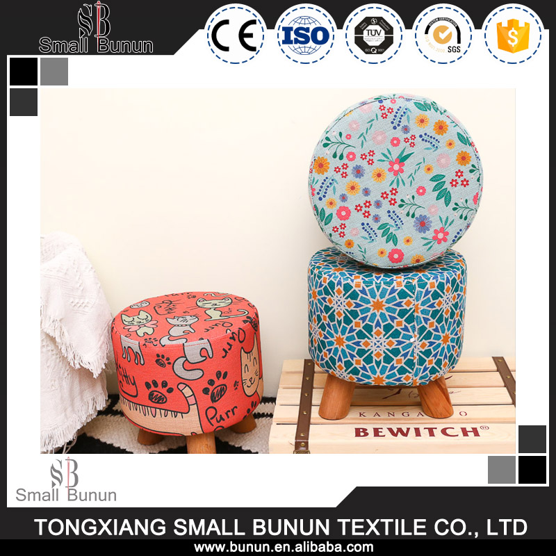 Economical New Design Round Fabric Cover Ottoman Footstool