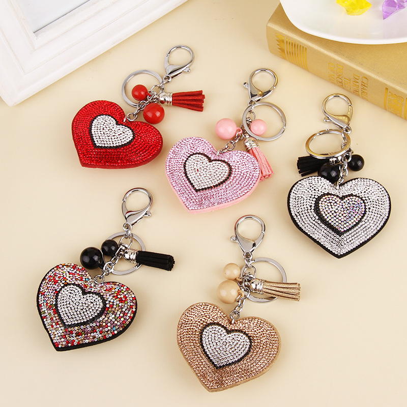 New arrival valentine gift for girlfriend key chain, double heart pattern leather bag key chain, nice car key hanger for women