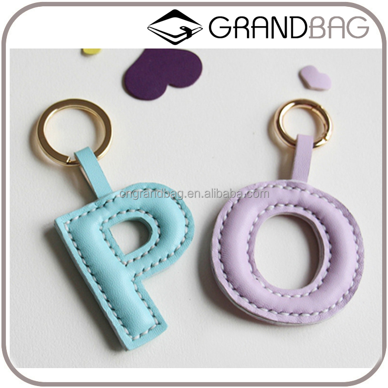 handbag letter fashion keyring guangzhou wholesale long leather key chain with Split ring stylish genuine leather key ring