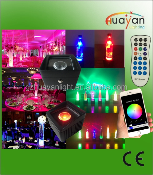 waterproof led batter uplights with wireless dmx for wedding table vase lighting decoration