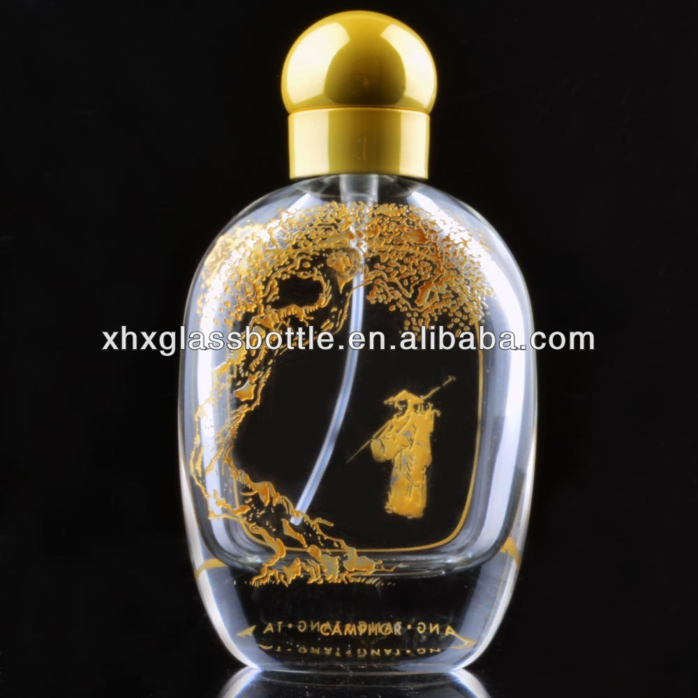 50Ml Glass Engraving Perfume Glass Bottle Oval 60Ml Egg Shape Perfume Bottle With Engraved Pattern With Cap Pump