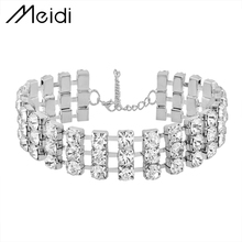 N5787 3 Row Top Quality Crystal Luxury Rhinestone Statement Jewelry Choker Necklace for women