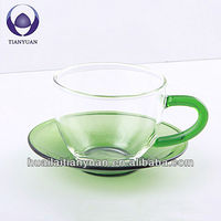 250 cc lead free colored glass tea cup with saucer