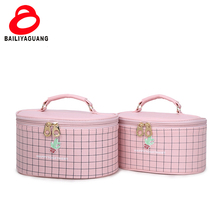 Tartan pattern colorful cheapest zipper cosmetic bag with OEM service makeup train case