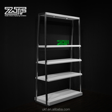Excellent quality lacquered wooden shelf display rack small free standing bags display shelf
