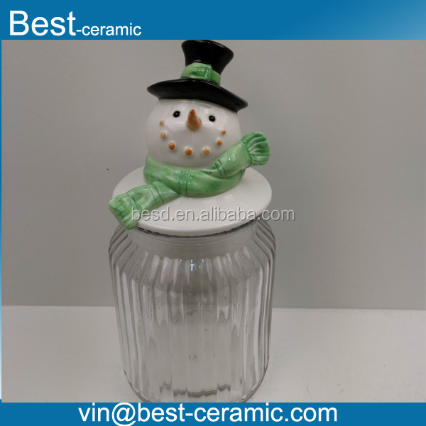 Customized creative hand-painted ceramic snowman shape lid glass candy jar