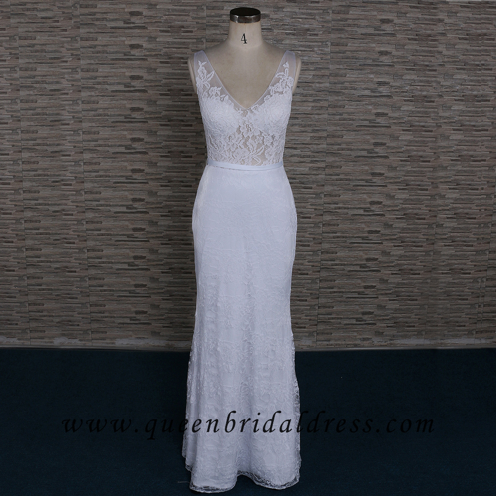 Sexy V-neck Neckline Jersey Fabric Ivory Lace Floor Length Bridal Dress