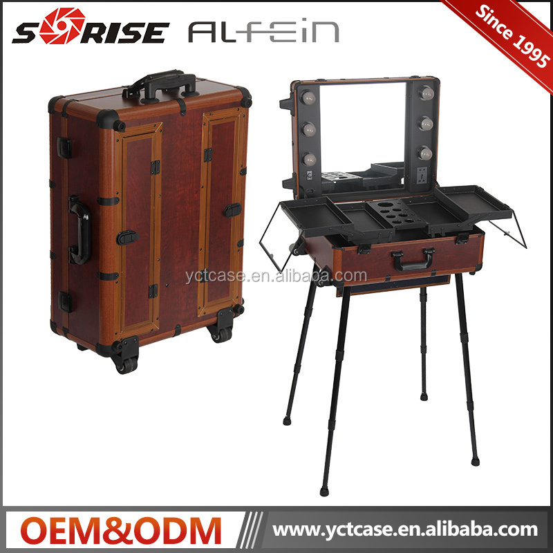 Aluminum Makeup Train Case Beauty Case Cosmetic with Mirror and Lights