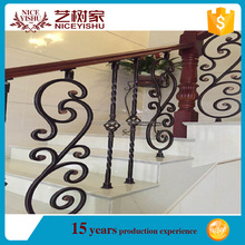 Yishujia factory Iron Stair Case, wrought iron banister, prefab ornamental metal stair railing