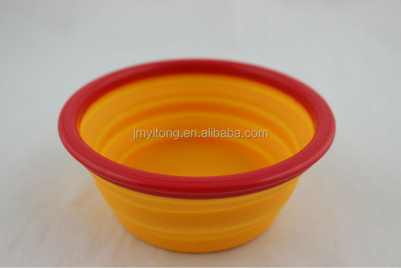 food grade popular round yellow bowl with cute red dog shape handle fashion Hot Sale!!steel durable dog bowl/pet dish/water bowl
