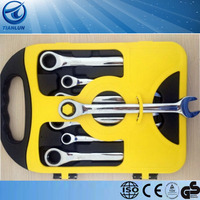 7 PCs drop forged double end wrench set open end, box end ratchet wrench set
