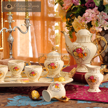 8pcs wholesale royal European style popular design ivory ceramic coffee set embossed ceramic tea set good quality
