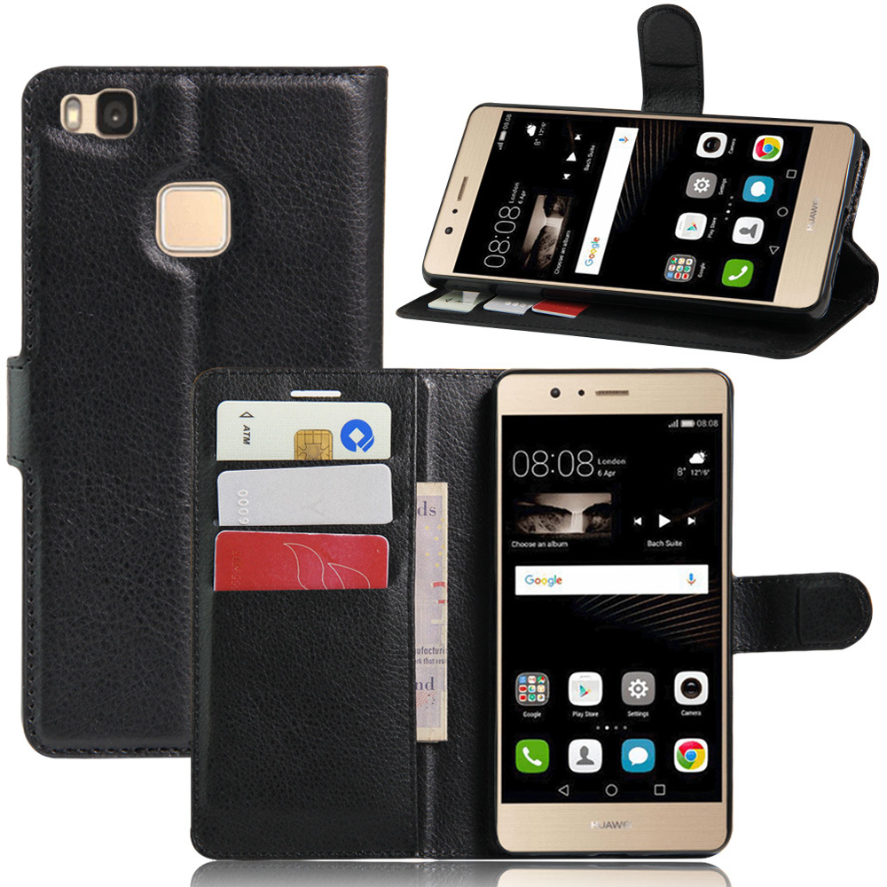 Lichee flip cover for huawei p9 lite leather case with card solt